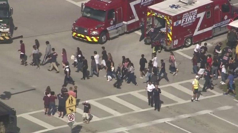 An+air+view+shot+of+students+following+the+Parkland+Florida+shooting.+Photo+Credit%3A+Fox6news