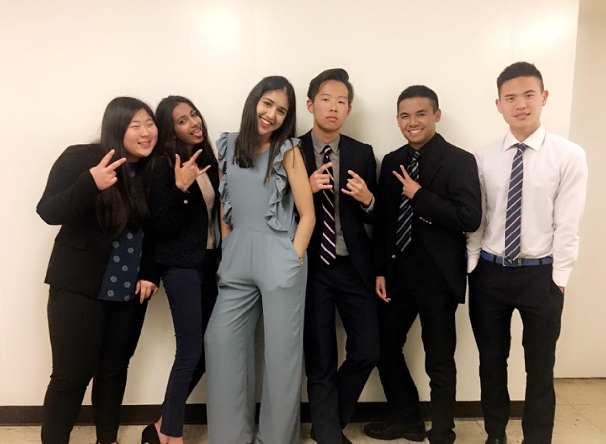 YLHS senior group photo. From left to right: Danielle Lee(12), Simran Chowdry(12), Artee Tandon(12), Nate Yi(12), Ryan Le(12), Wayne Chan(11). (Photo courtesy of Caitlyn Truong)
