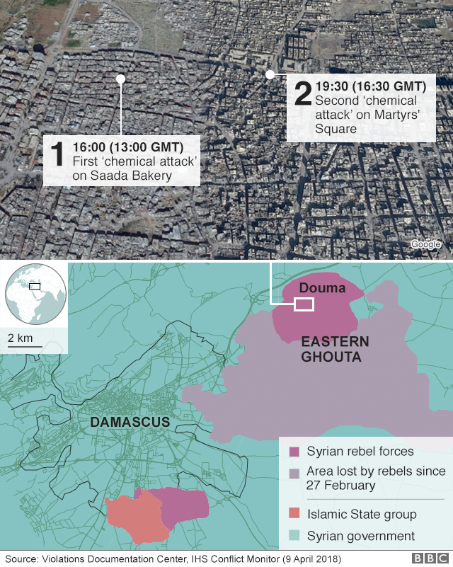This map shows where each of the two chemical attacks took place.