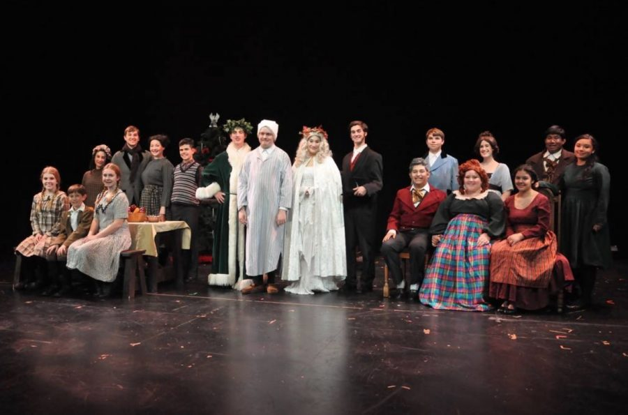 The cast of A Christmas Carol ready to perform.