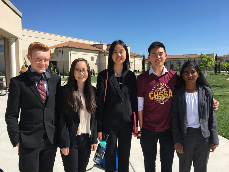 YLHS+Speech+and+Debate+students+Andrew+Krohn+%2810%29%2C+Caitlyn+Truong+%2810%29%2C+Anna+Zhang+%289%29%2C+Wayne+Chan+%2811%29%2C+Rohita+Thammineni+%289%29%2C+and+more+competed+at+the+state+tournament+in+April.