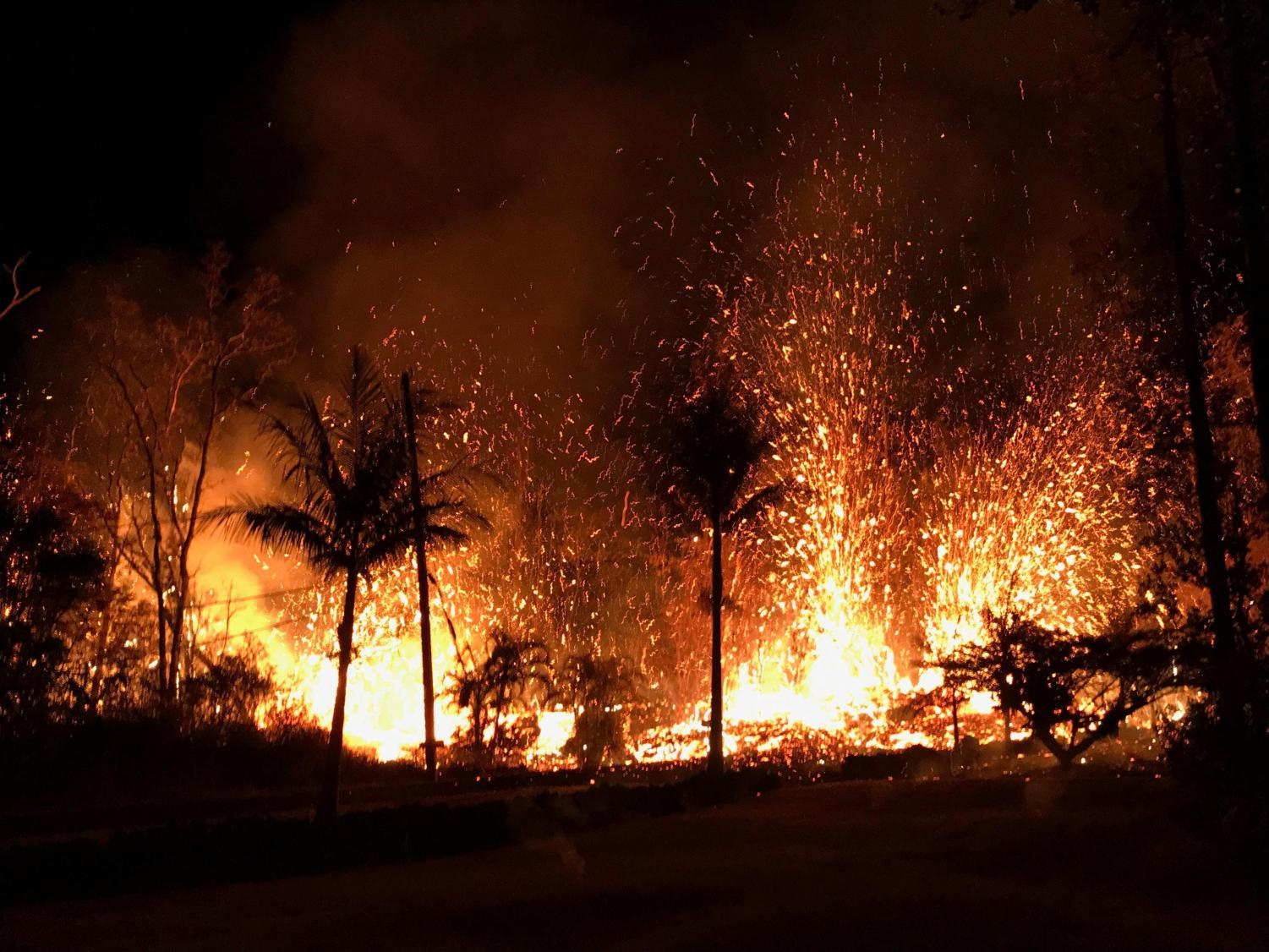 That of the Kilauea eruption is burning down trees and land in which was once vital to life on Hawaii.