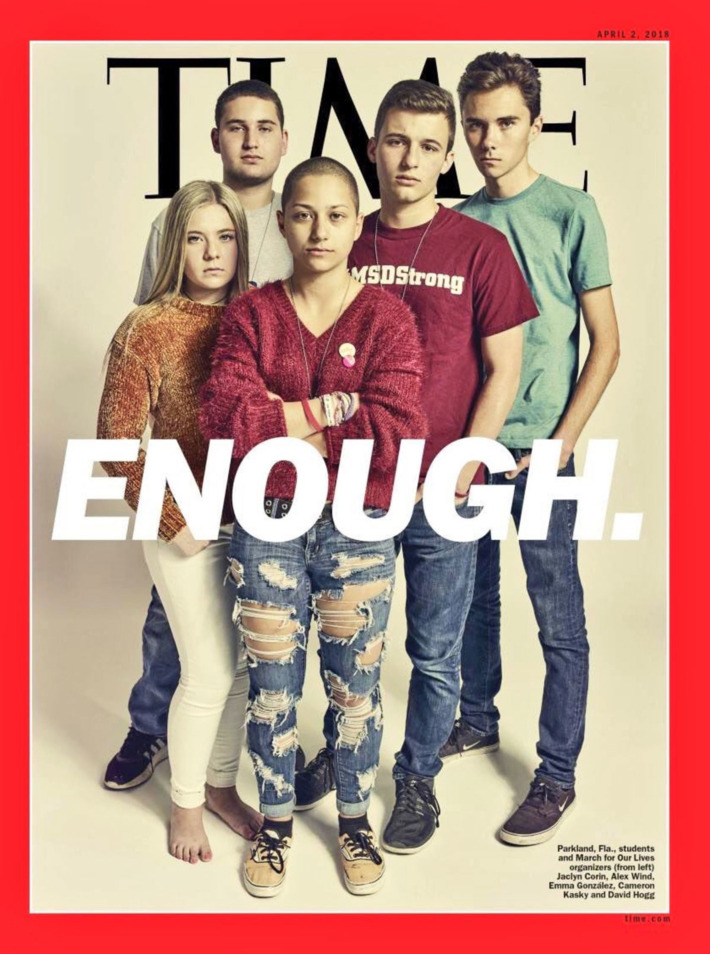 The survivors of the Florida high school shooting earlier this year on the cover of Time.