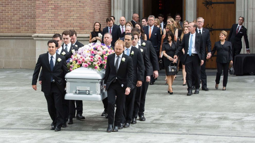 Friends and family say goodbye to Barbara at her funeral.
