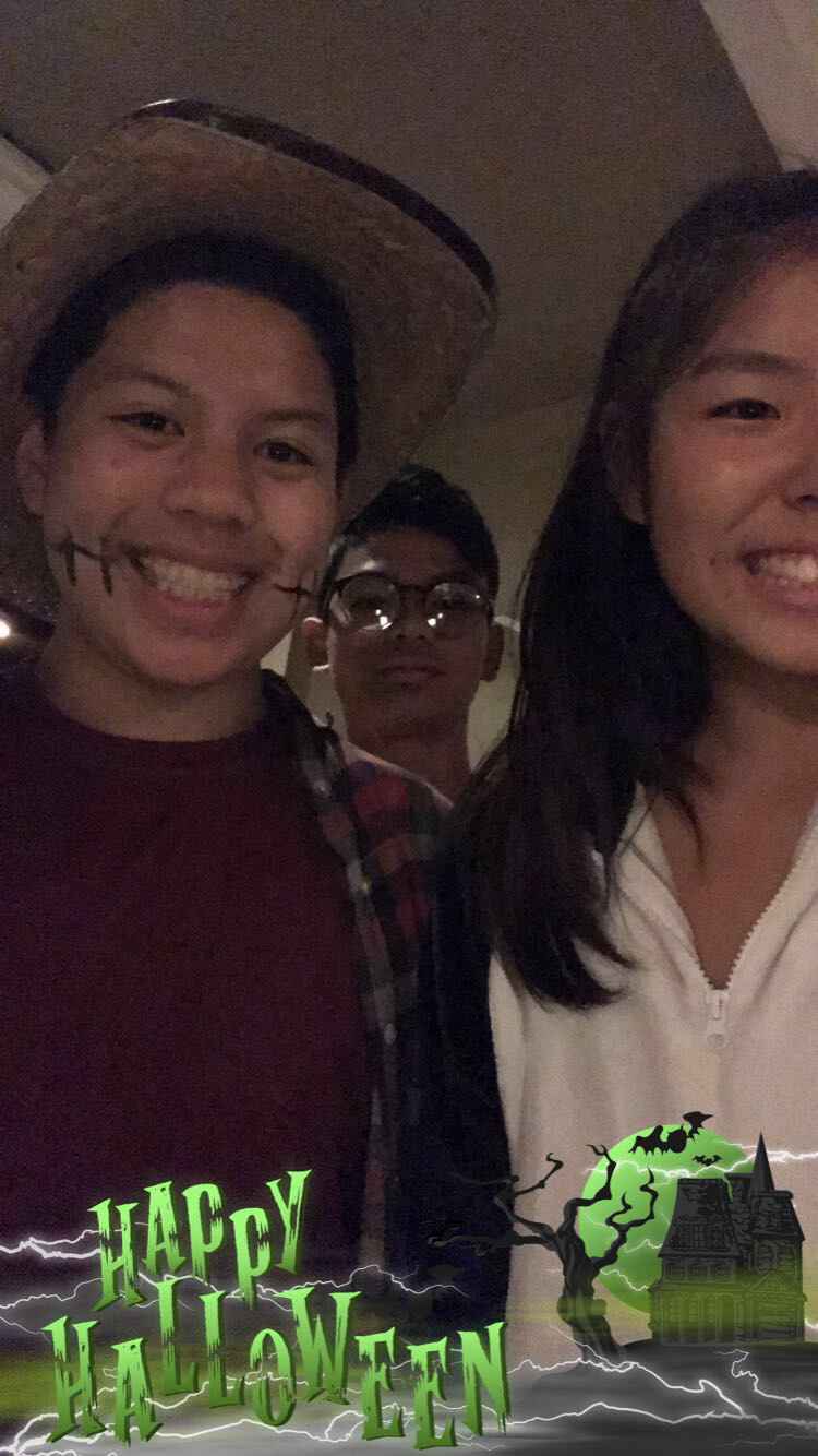 Stephen his friends, Sarah Kim (11), and Nick Deang (11) on Halloween Night 2017.
