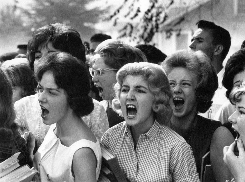 White high school students cursing black students on the first day that public schools were integrated in Montgomery, 1963