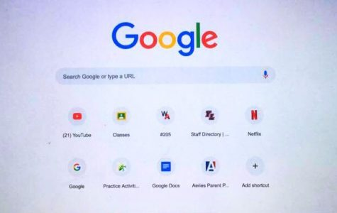 This is a picture of a google desktop that shows the most recent websites used by a junior at YLHS. Out of 9 websites, 6 of them are school related.