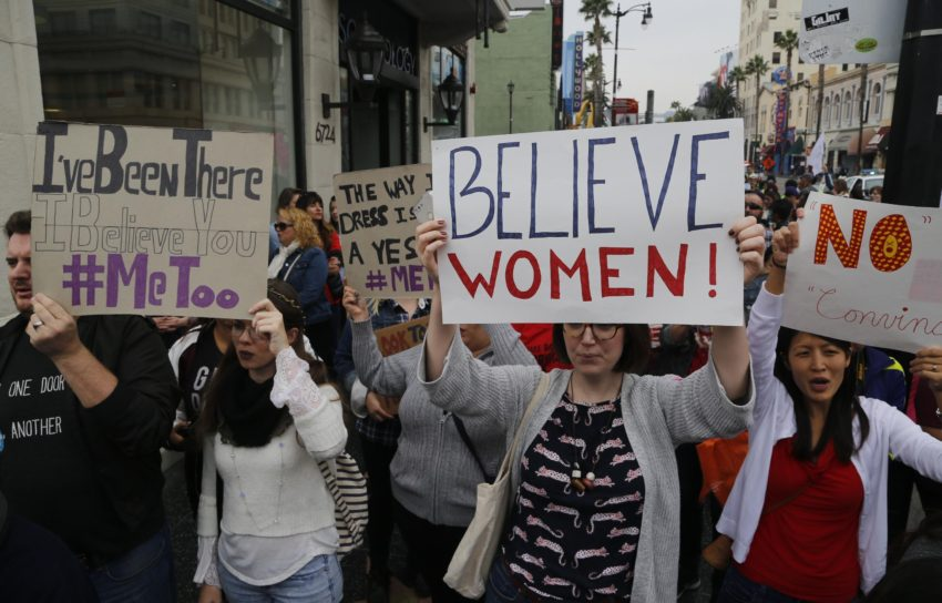 Feminists march to protest Kavanaugh in support of Ford.