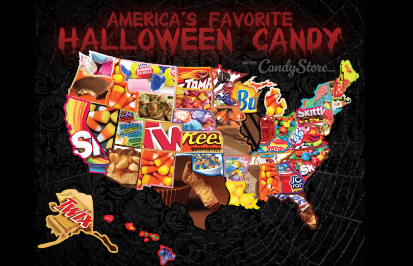 The top Halloween candies per state ranges from traditional candy corn to Dubble Bubble Gum.