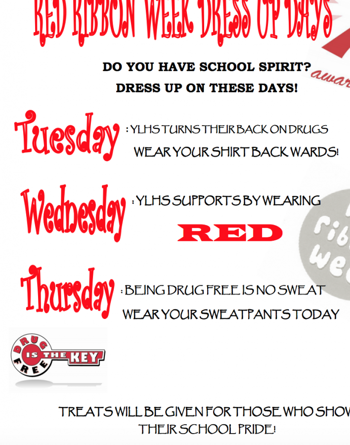 A YLHS poster from a previous year displaying the dress up days in observance of Red Ribbon Week.