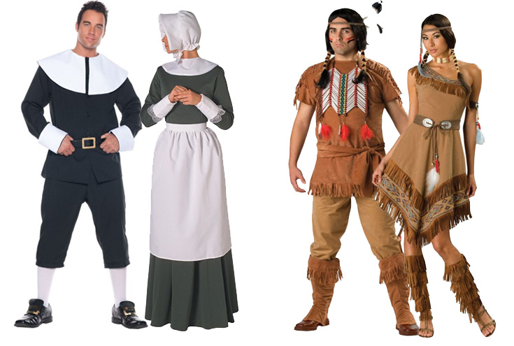 An image taken from a costume store. Like many other stores, they sell Native American and European settler apparel in honor of the national holiday. The costumes are a prime example of the larger example that is Thanksgiving