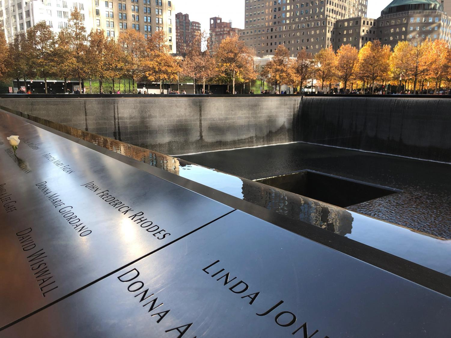 An image taken above the memorial pools outside the 9/11 memorial museum.