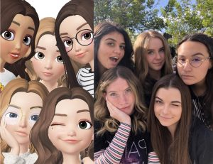 This photo depicts a mirror image of Zepeto avatars and their corresponding creators. (Listed left to right: Malieka Khan, Polly Bowman, Gabby McCutchan, Shannon Adler, Ashley Payne)