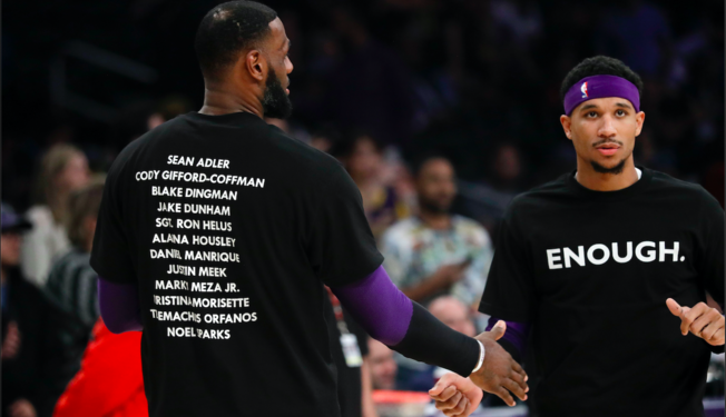 LeBron James and Josh Hart wearing their t-shirts for the victims of the Borderline Bar Shooting in Thousand Oaks.