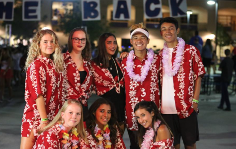 Some of the foreign exchange students this year at Yorba Linda High School dressed up in Hawaiian shirts with their friends on campus.