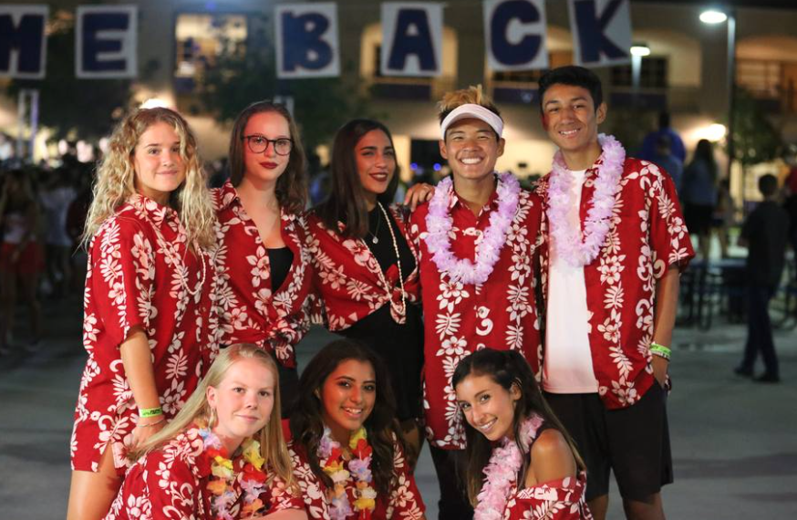Some+of+the+foreign+exchange+students+this+year+at+Yorba+Linda+High+School+dressed+up+in+Hawaiian+shirts+with+their+friends+on+campus.+