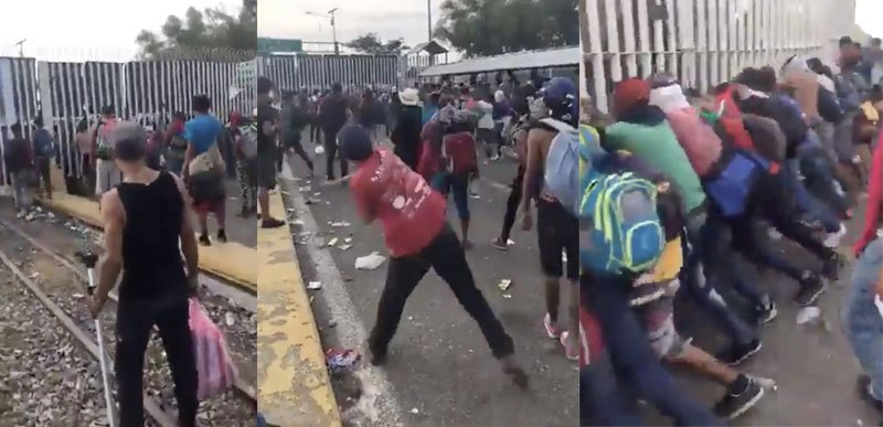 Migrant caravan throwing rocks at US border.