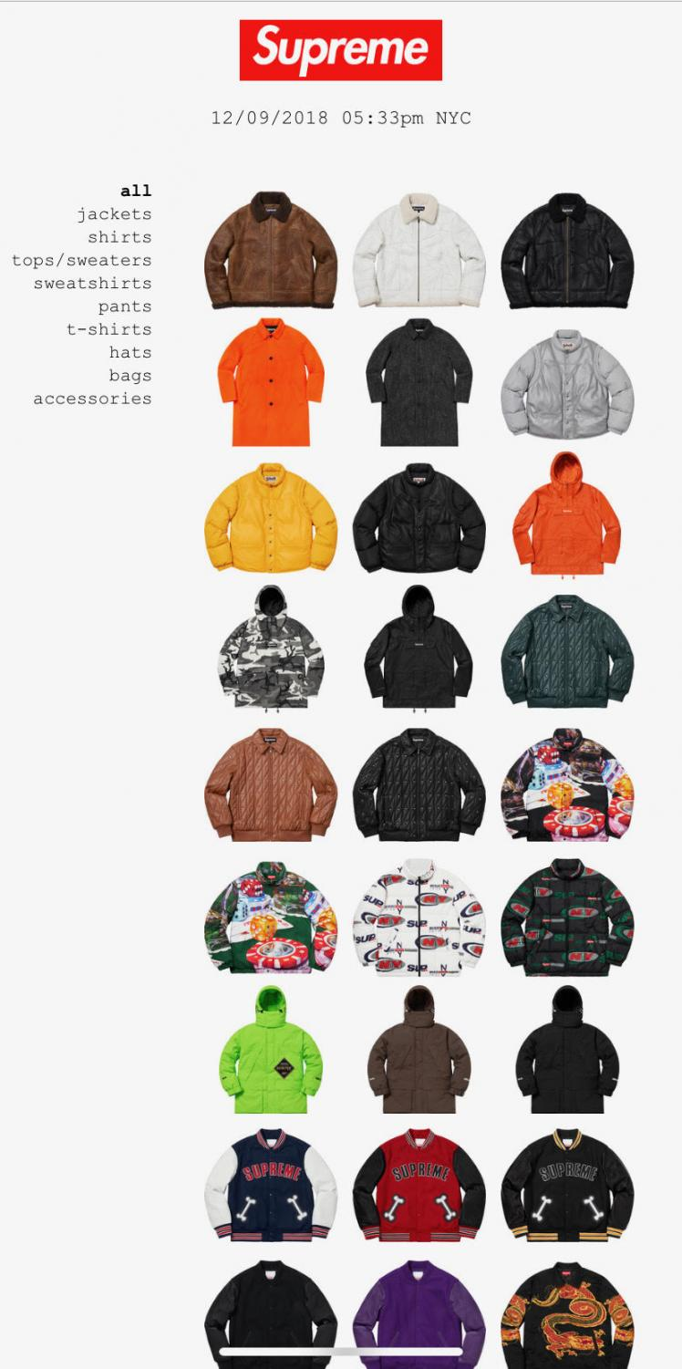 A screenshot taken from the Supreme website. Displayed are a variety of their luxury clothing items, the majority of which are sold out. Many are waiting in anticipation of their next drop.