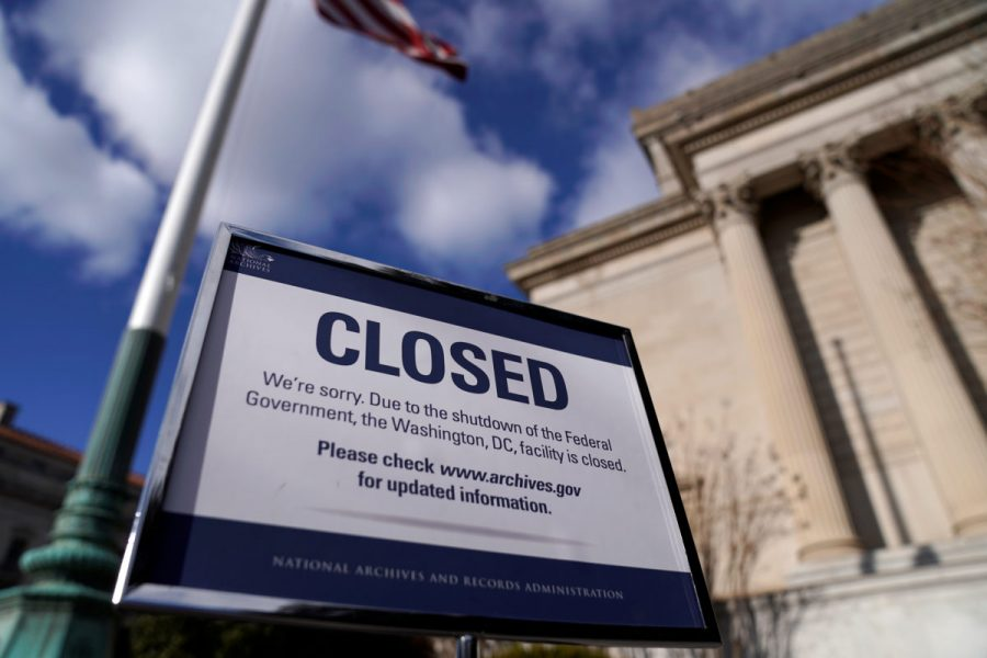 A sign declares the National Archive is closed due to a partial federal government shutdown in Washington, U.S., December 22, 2018.      REUTERS/Joshua Roberts