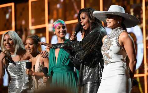 Above, special guest Michelle Obama makes a surprise appearance on music's biggest night.