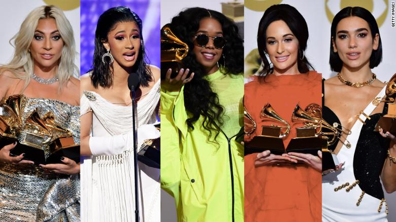 The women in the music industry proudly accept their well-deserved Grammy.