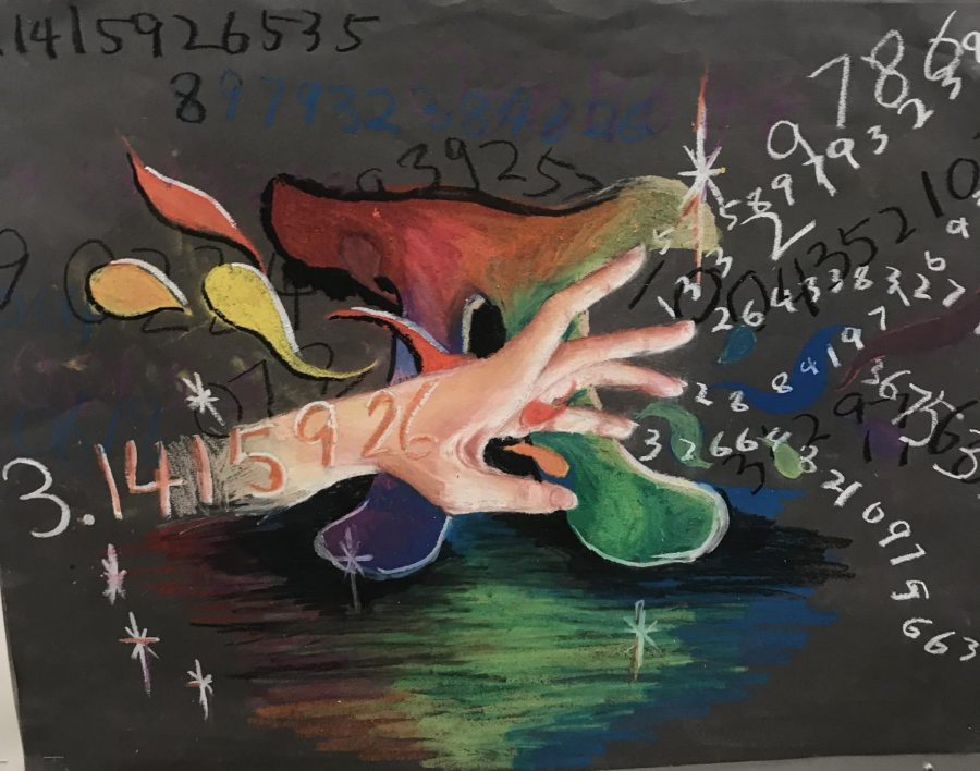 This winning poster poster for Pi Day incorporates art and math by showcasing an artistic interpretation of pi.