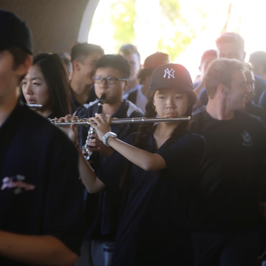YLHS band playing our fight song during the roaming rally.