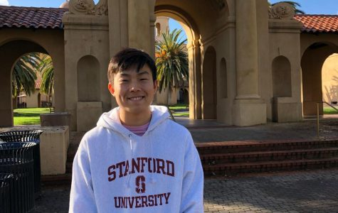 AJ Song decks out in his Stanford gear to show off his pride in his future school.