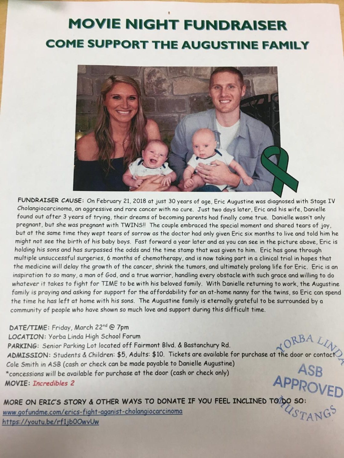 The flyer with more information on how you can donate to Eric and his family!
