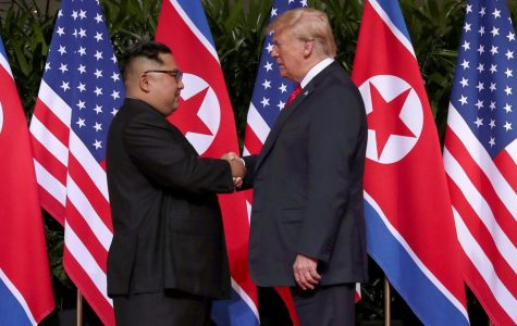 Trump and Kim in the First Summit with a friendly handshake. (credits to nationalinterest.org)