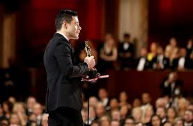 Rami Malek giving his speech after winning Best Actor.