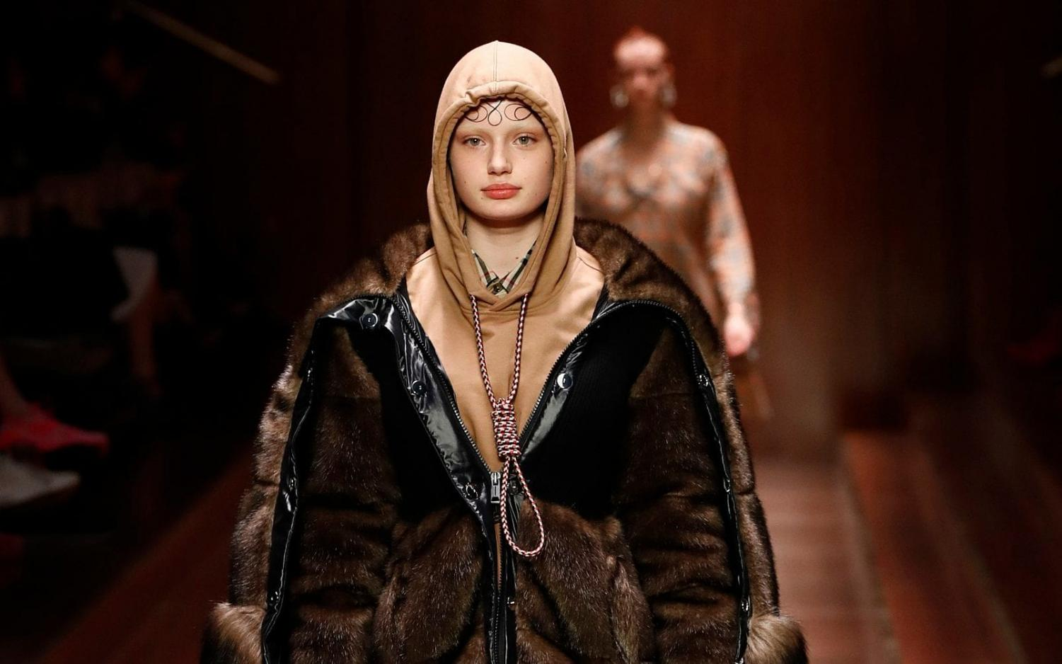 Burberry sent a model down the runway with her hoodie strings tied in a noose.