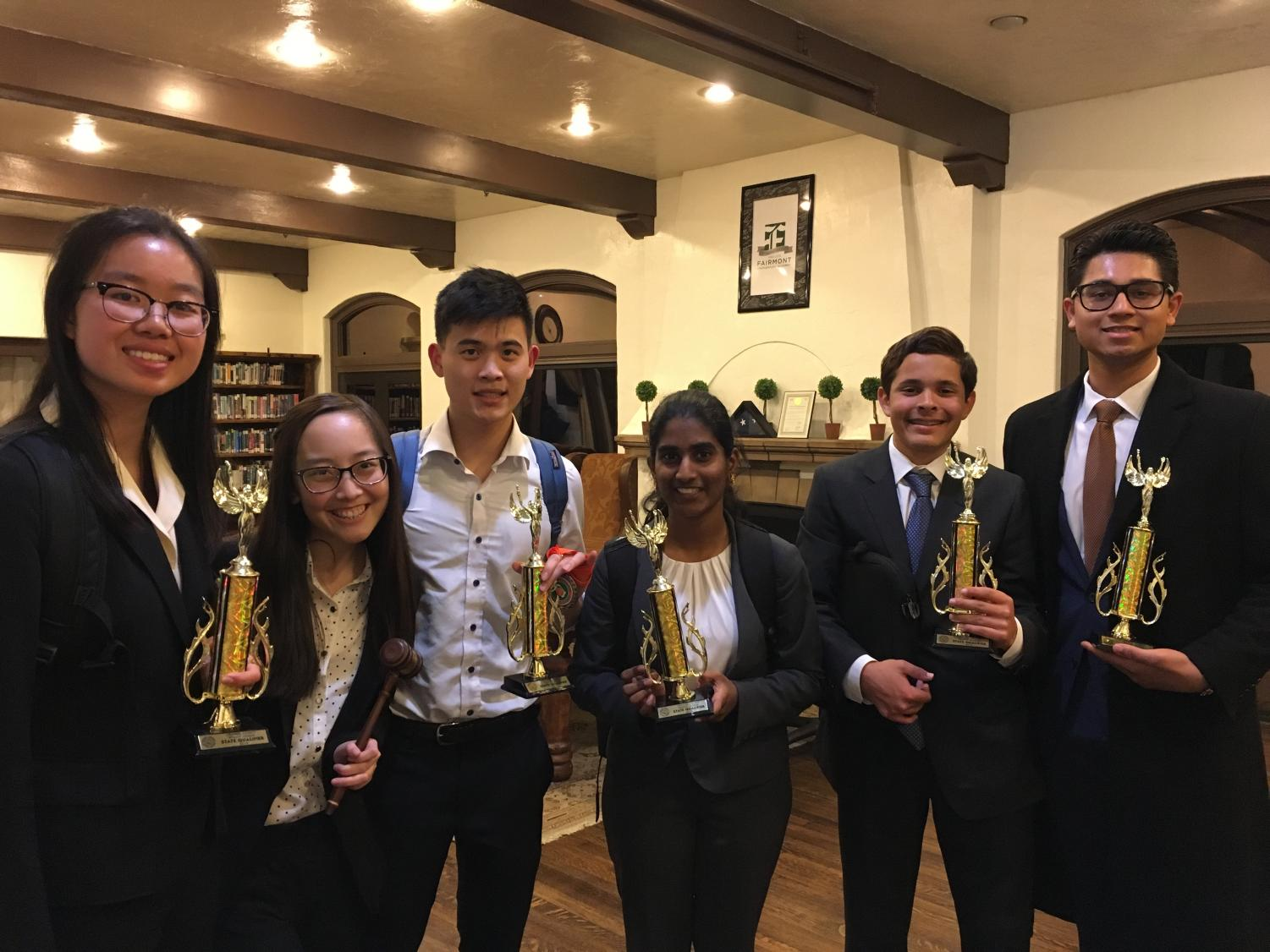From left to right: Anna Zhang (10), Caitlyn Truong (11), Wayne Chan (12), Rohita Thammineni (10), Chris Mancini (9), and Rishi Kheni (12) are among several YLHS debate students qualifying for the state tournament in May.