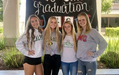 Courtney Huitt (12), Alli Provenzano (12). Michelle Quinn (12), and Payton Janish wear their college gear to celebrate college decision day.