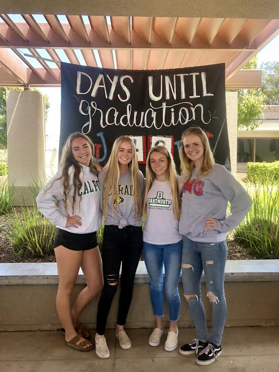 Courtney+Huitt+%2812%29%2C+Alli+Provenzano+%2812%29.+Michelle+Quinn+%2812%29%2C+and+Payton+Janish+wear+their+college+gear+to+celebrate+college+decision+day.%0A