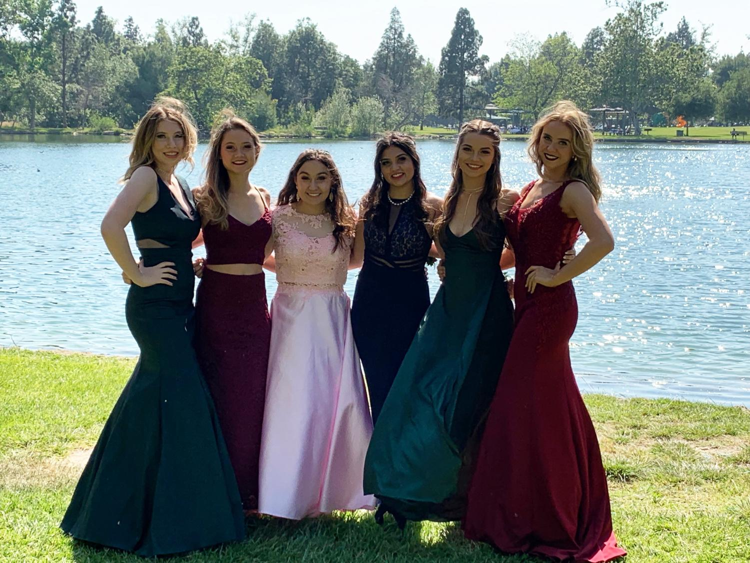 This is a picture of friends for many years together at prom for their junior year.