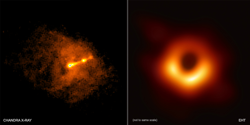 Full sized (left) and zoomed-in (right) images of black hole taken by NASA.