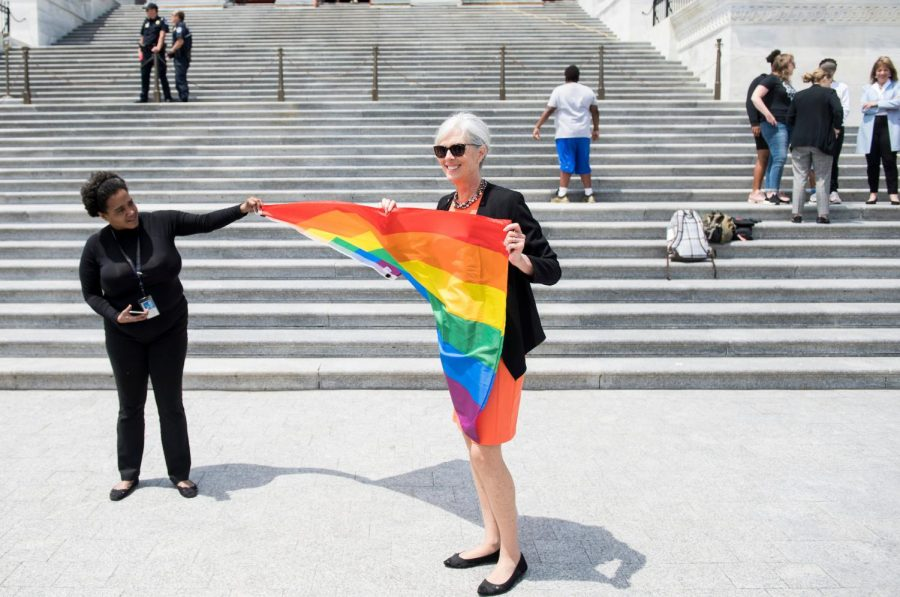 Democratic Caucus Vice Chair Rep. Katherine Clark, D-Mass., on the House steps after the Equality Act was passed on Friday, May 17, 2019.