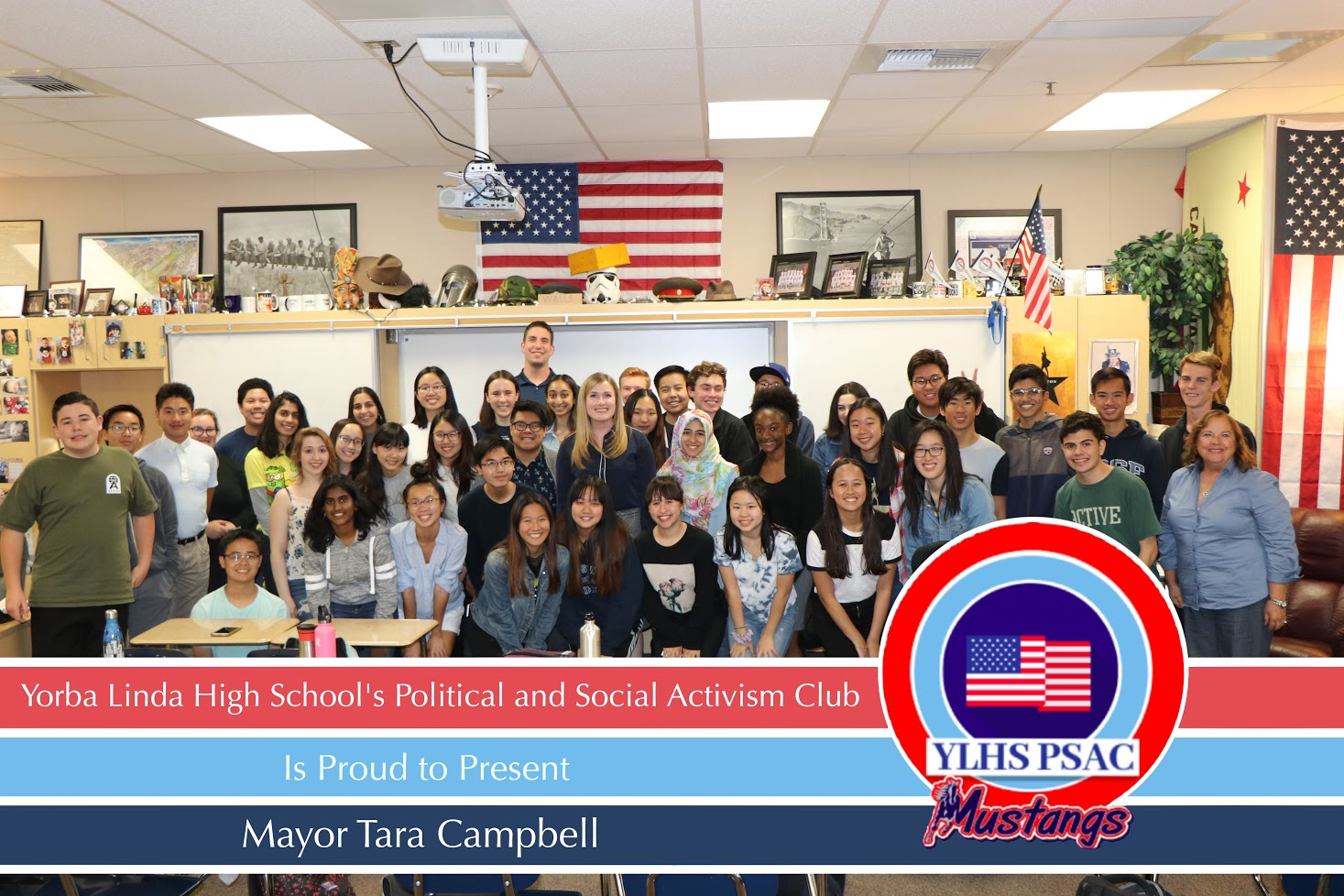 Students gathered in Mr. Walls's room on Tuesday to listen to Yorba Linda's mayor.