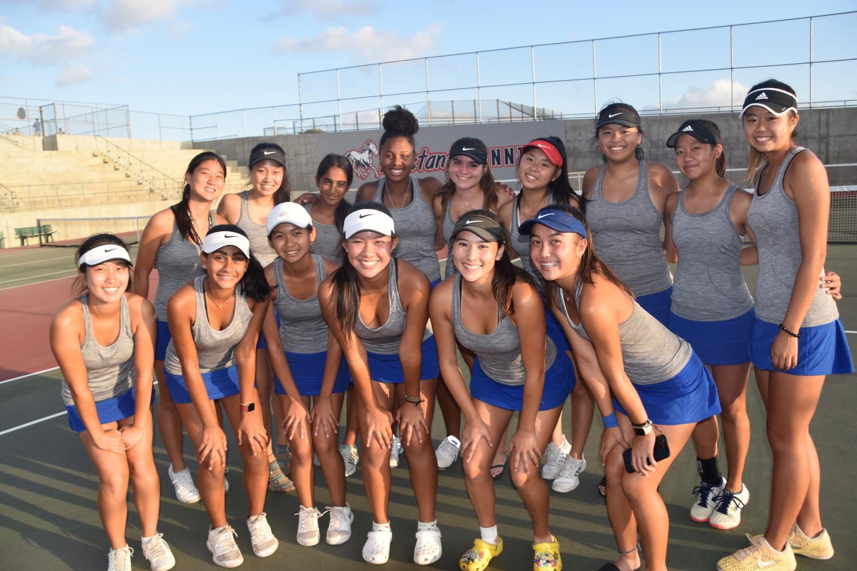 A team photo of the 19-20 Women's tennis varsity squad.