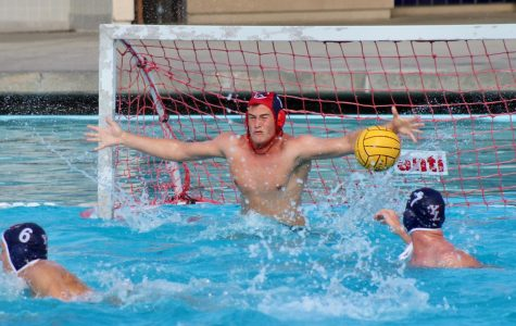 With arms outstretched to defend the goal, Austin Dale (11) blocks an opposing shot.