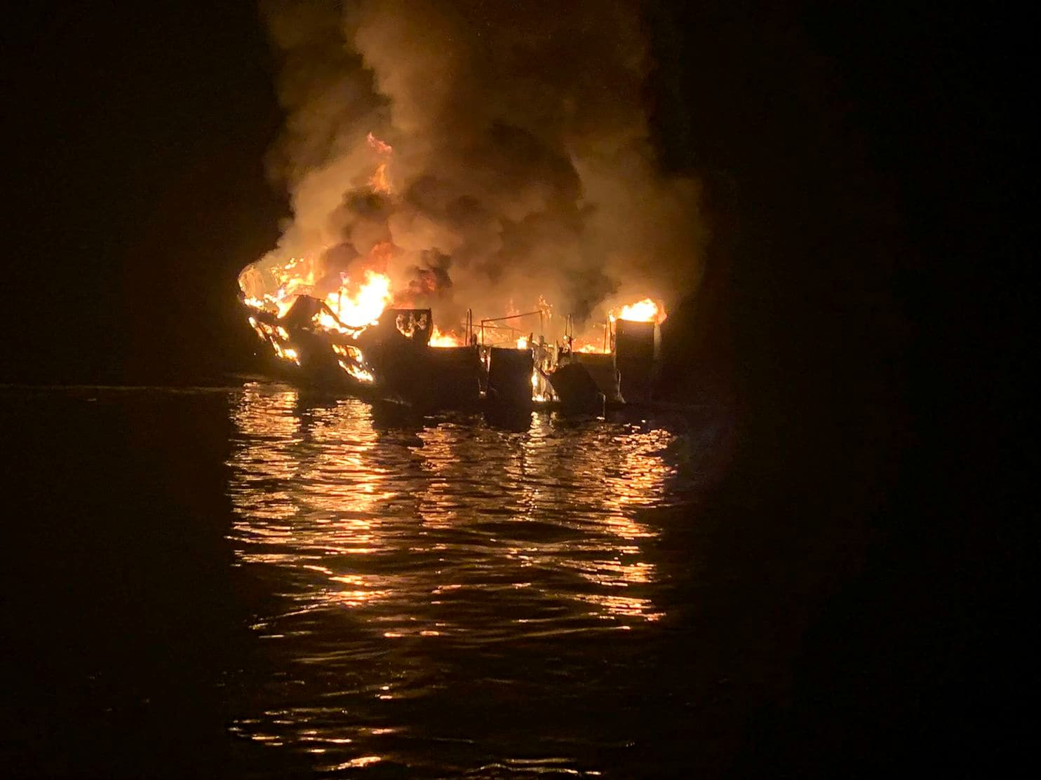 The fire of a diving boat off the coast of Santa Cruz Island killed 34 out of 39 people aboard.