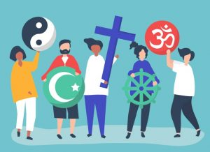 The image illustrates a diverse group of people with each holding a symbol to represent their religion.