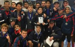 Yorba Linda High School's wrestling team smile excitedly during CIF (2017)