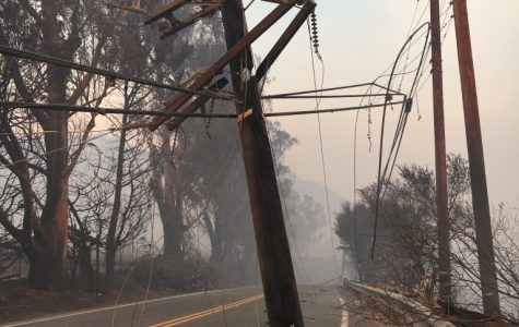 A downed and burnt-through power line lies on Highway 150 close to Thomas Aquinas College, only about a quarter of a mile away from where the Thomas Fire originated in December 2017.