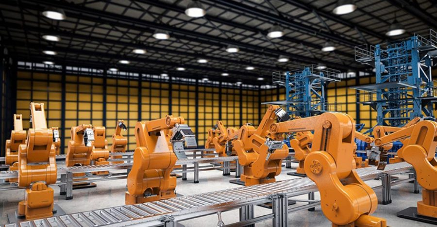 Machines are now replacing factory workers along assembly lines at an increasing rate.