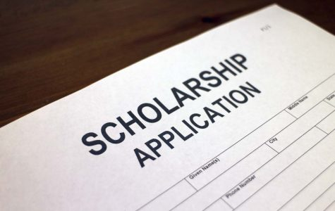 The image shows a scholarship application that students fill out to earn financial awards for their college tuition.