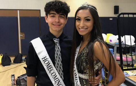 Paulina Marriquin (11) and Brandon Vega (11) at the homecoming rally at Yorba Linda High School representing Junior Princess and Prince.