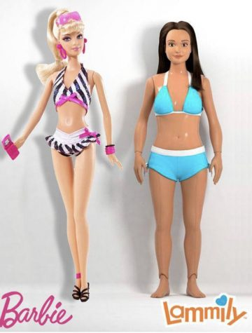 """The stark comparison between the features of Mattel's Barbie doll and the """"Lammily"""" doll. The Lammily doll was created by Nickolay Lamm in 2014, to promote the acceptance of  realistic body proportions."""