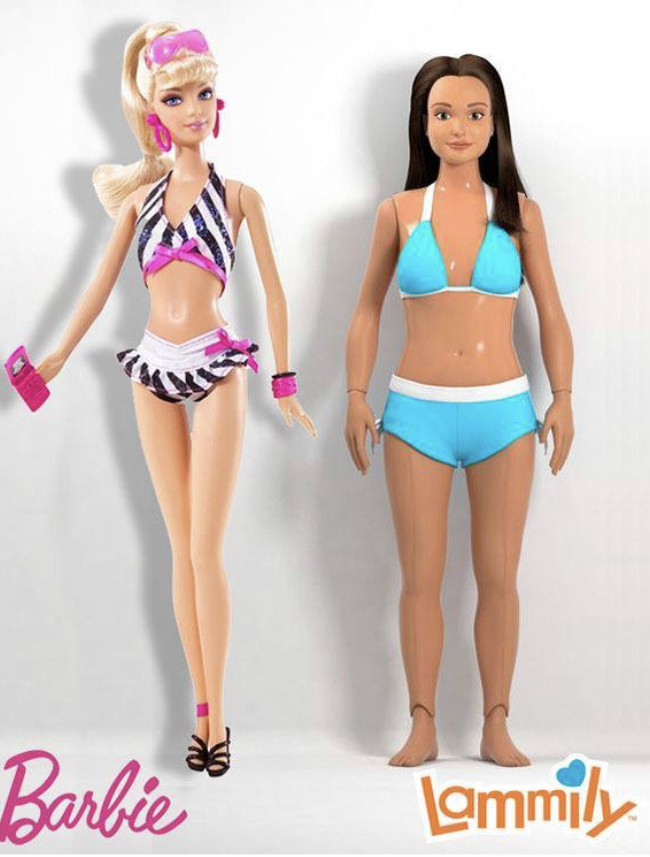 The+stark+comparison+between+the+features+of+Mattel%E2%80%99s+Barbie+doll+and+the+%E2%80%9CLammily%E2%80%9D+doll.+The+Lammily+doll+was+created+by+Nickolay+Lamm+in+2014%2C+to+promote+the+acceptance+of++realistic+body+proportions.